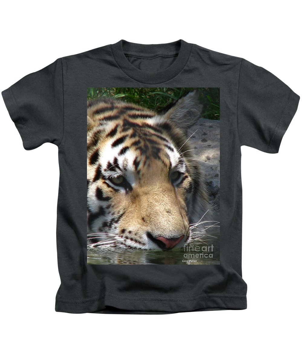 Patzer Kids T-Shirt featuring the photograph Tiger Water by Greg Patzer