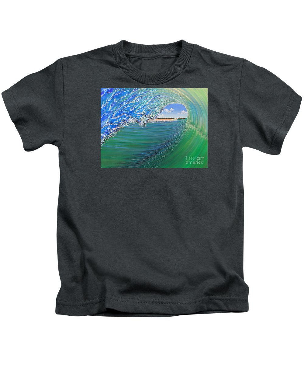 Waves Kids T-Shirt featuring the painting Time Warp by Marty Calabrese