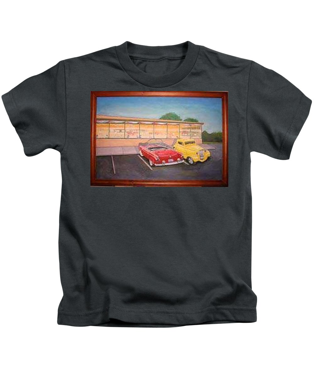 Rick Huotari Kids T-Shirt featuring the painting Times Past Diner by Rick Huotari