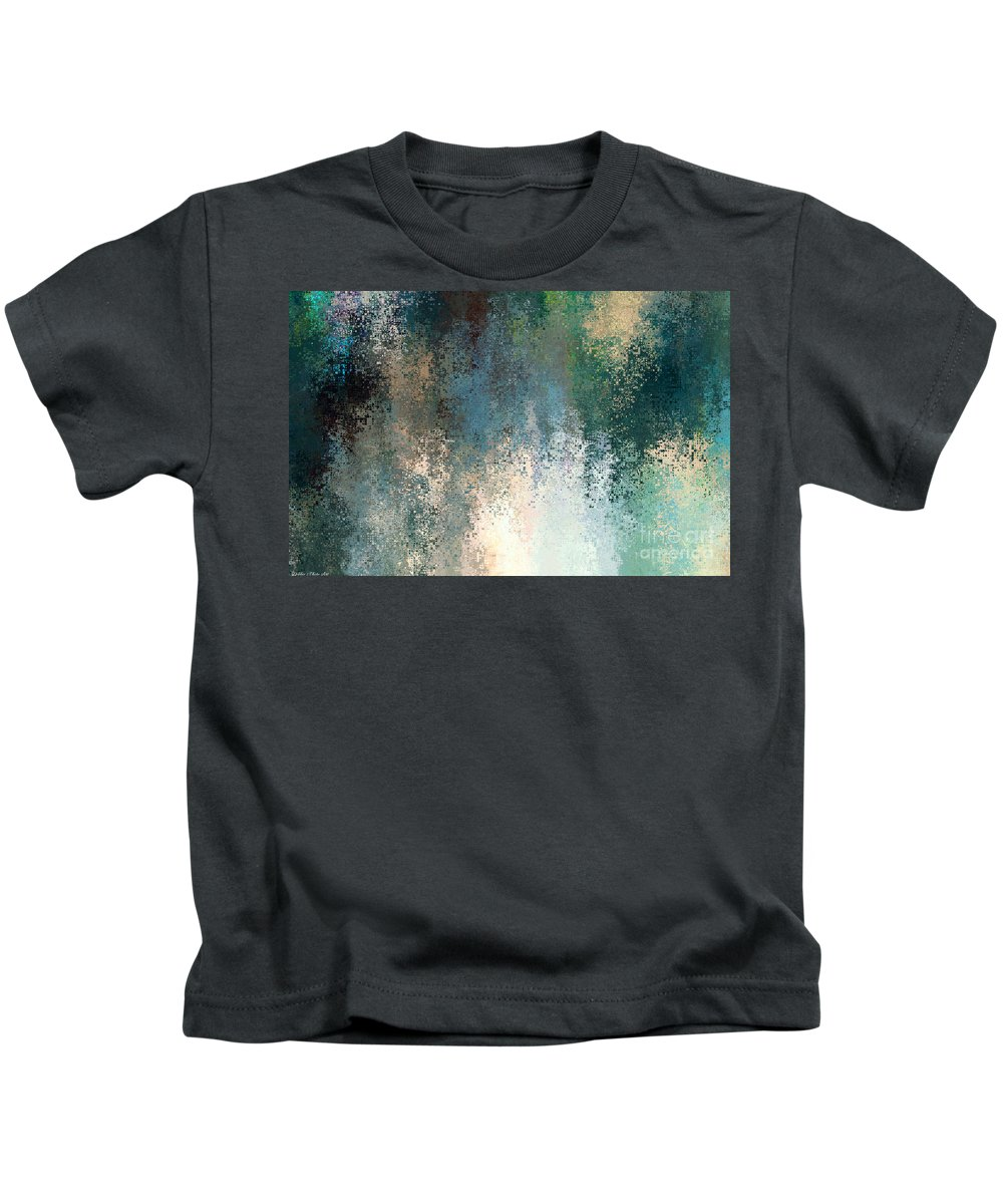 Abstract Kids T-Shirt featuring the digital art Tiny Blocks Digital Abstract - Cool Blues by Debbie Portwood