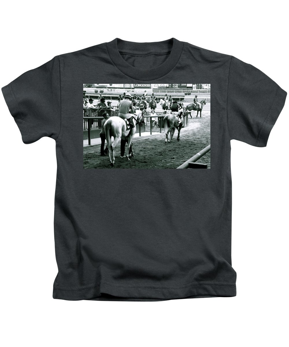 Horse Racing Jockeys Track Belmont Racetrack Black And White Kids T-Shirt featuring the photograph To The Track by Alice Gipson