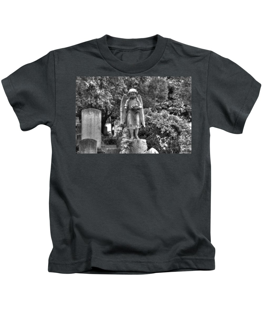Elmwood Cemetery Kids T-Shirt featuring the photograph Too Young by Shannon Louder