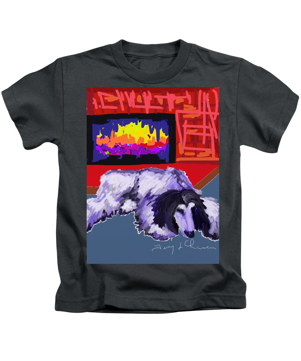 Afghan Hound Kids T-Shirt featuring the painting Tootsie Fireplace by Terry Chacon