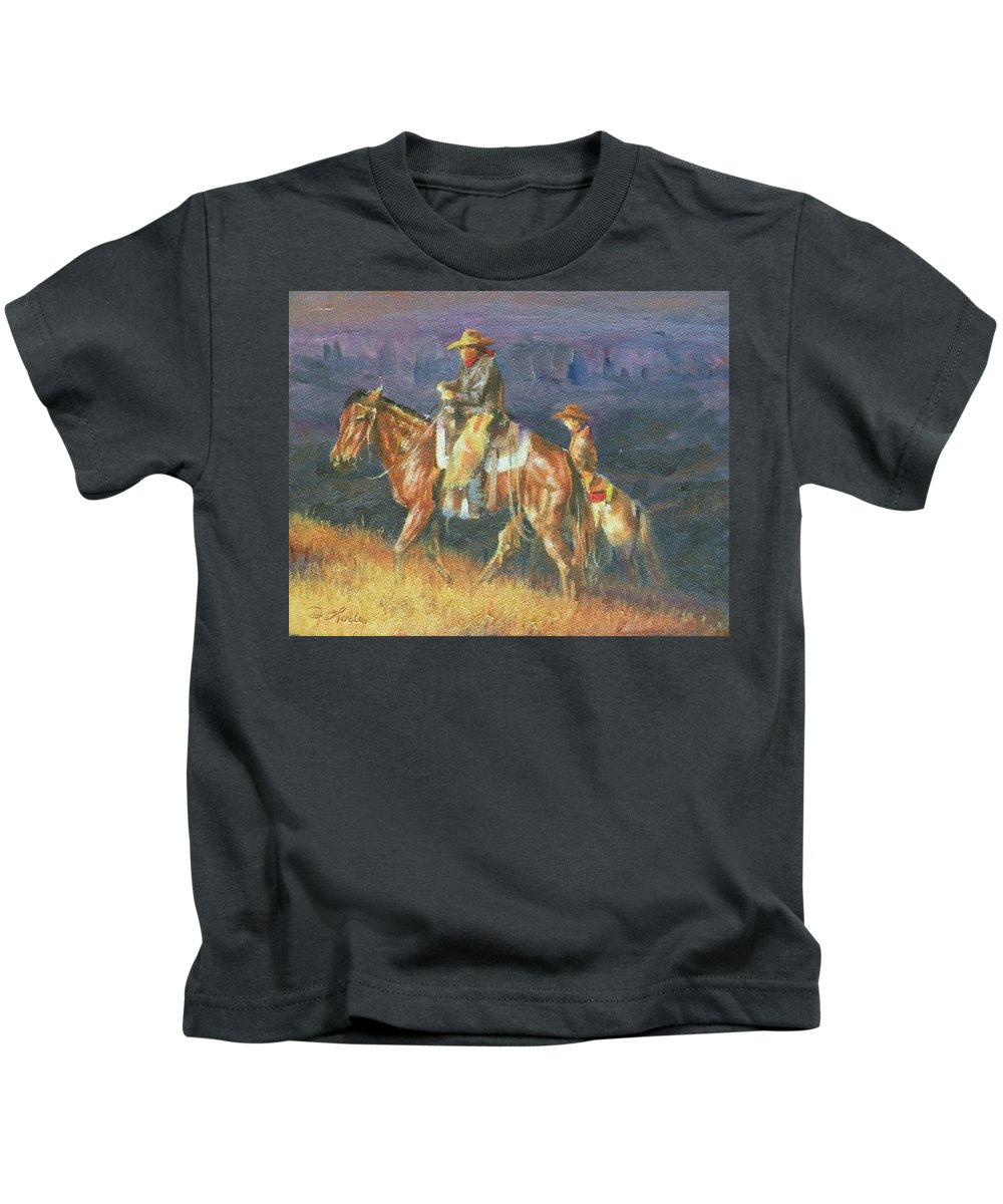 Cowboys Kids T-Shirt featuring the painting Topping The Ridge by Mia DeLode
