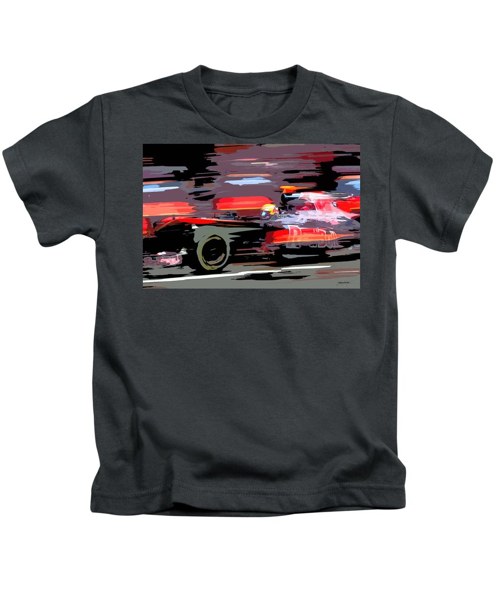 Porsche Kids T-Shirt featuring the painting Toro Rosso Pit by Tano V-Dodici ArtAutomobile