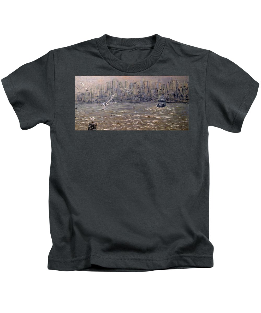 Toronto Kids T-Shirt featuring the painting Toronto Harbor Morning by Ian MacDonald