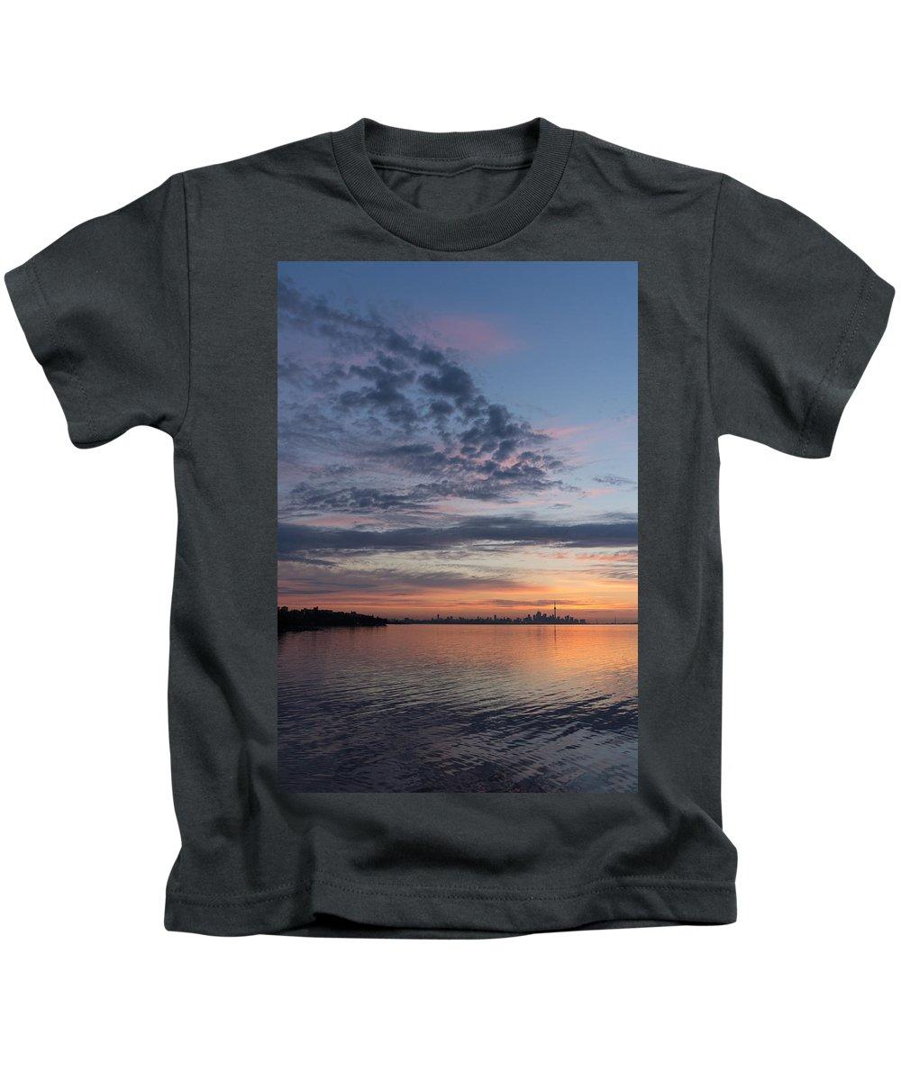 Toronto Kids T-Shirt featuring the photograph Toronto Skyline In Pastel Blue Pink Yellow Orange And Purple by Georgia Mizuleva