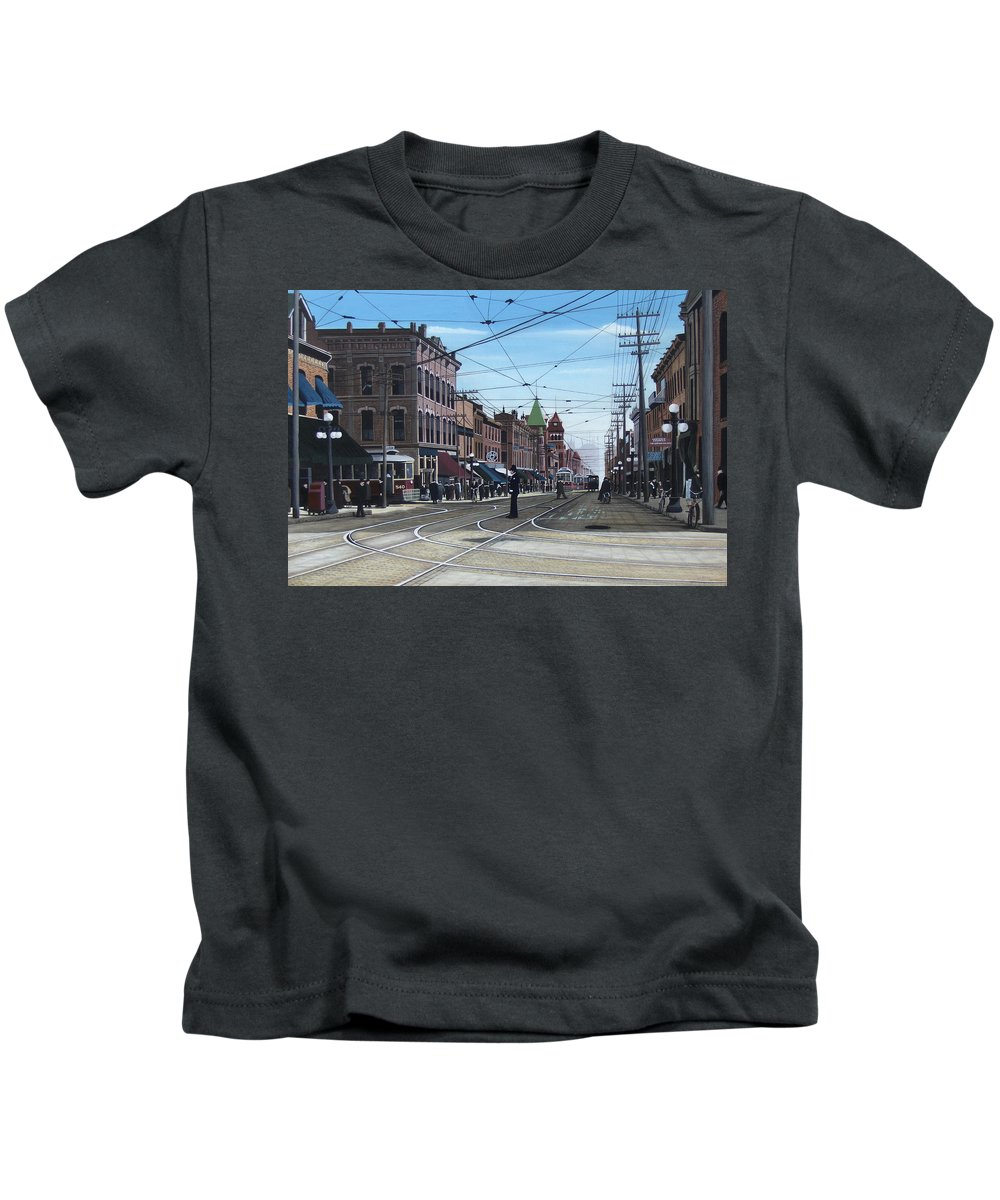 Streetscapes Kids T-Shirt featuring the painting Toronto Yonge And College 1916 by Kenneth M Kirsch