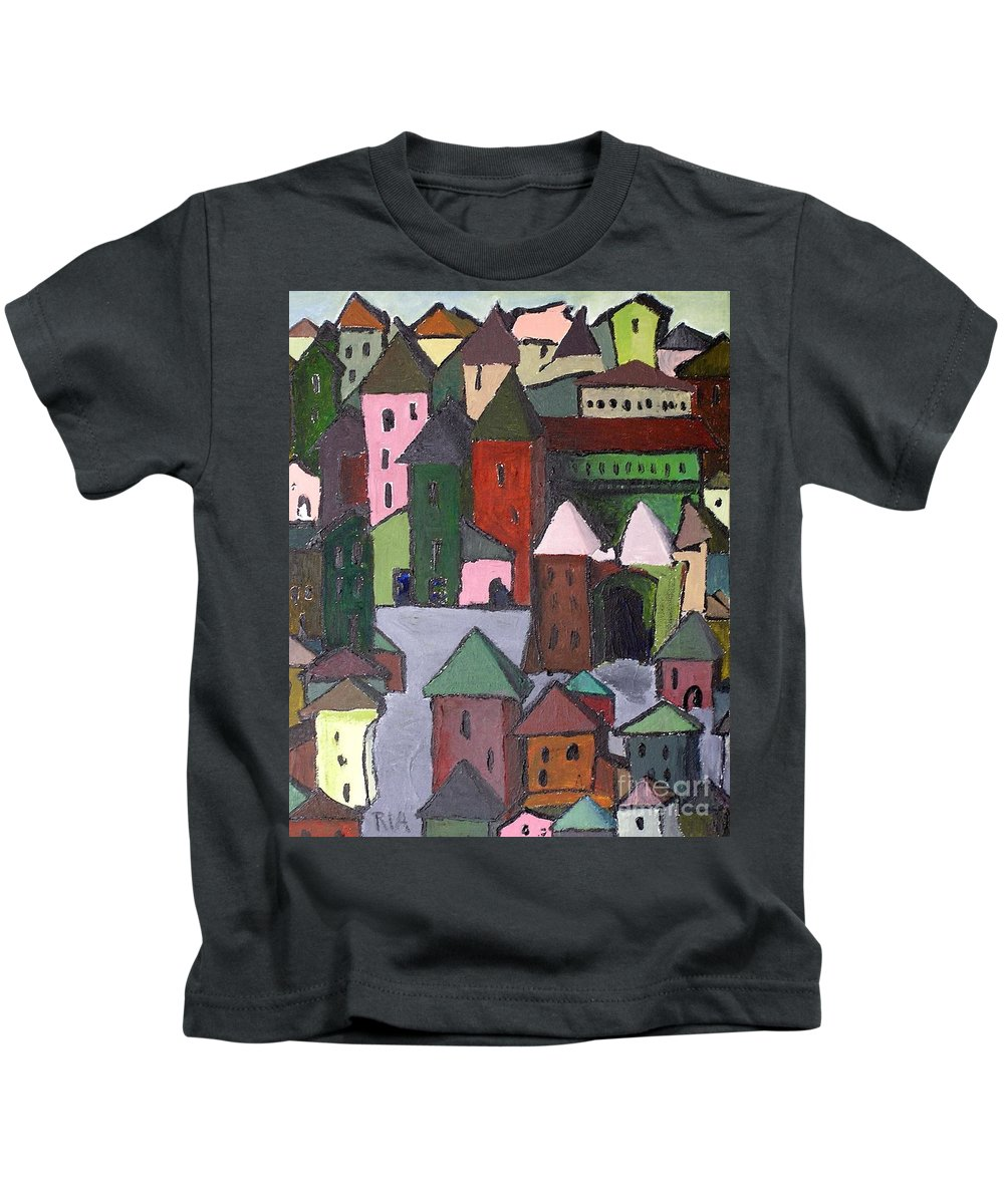 Town Kids T-Shirt featuring the painting Town by J Nell Bliss