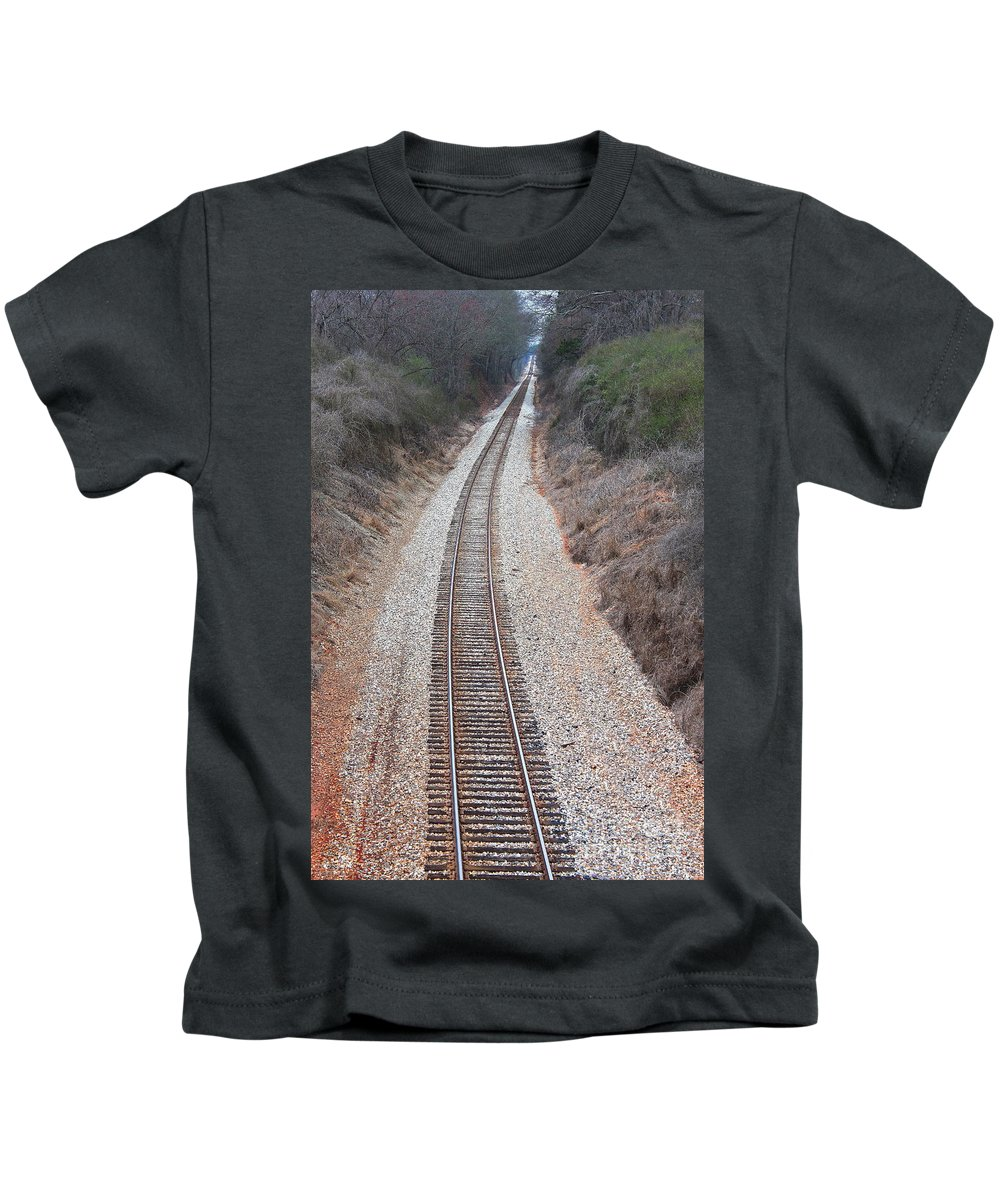 Reid Callaway Train And Track Kids T-Shirt featuring the photograph Track 3 by Reid Callaway