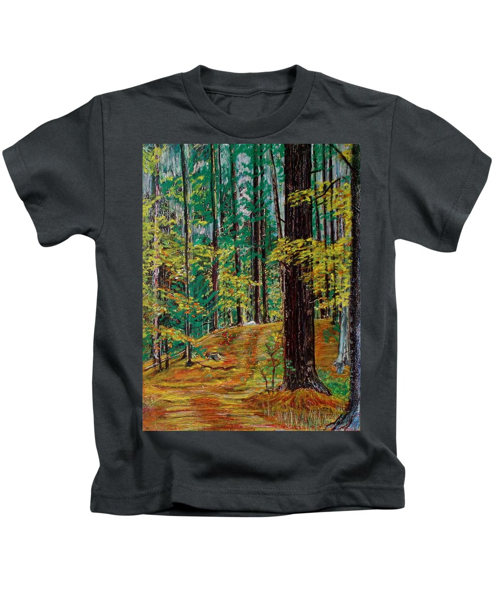 New Hampshire Kids T-Shirt featuring the pastel Trail At Wason Pond by Sean Connolly