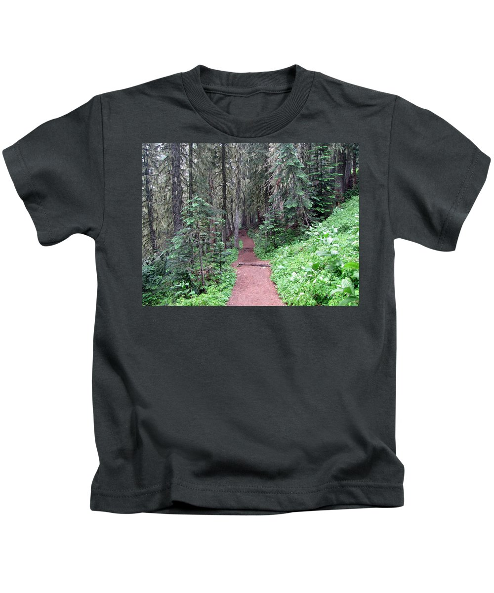 Trees Kids T-Shirt featuring the photograph Trailhead by Tikvah's Hope
