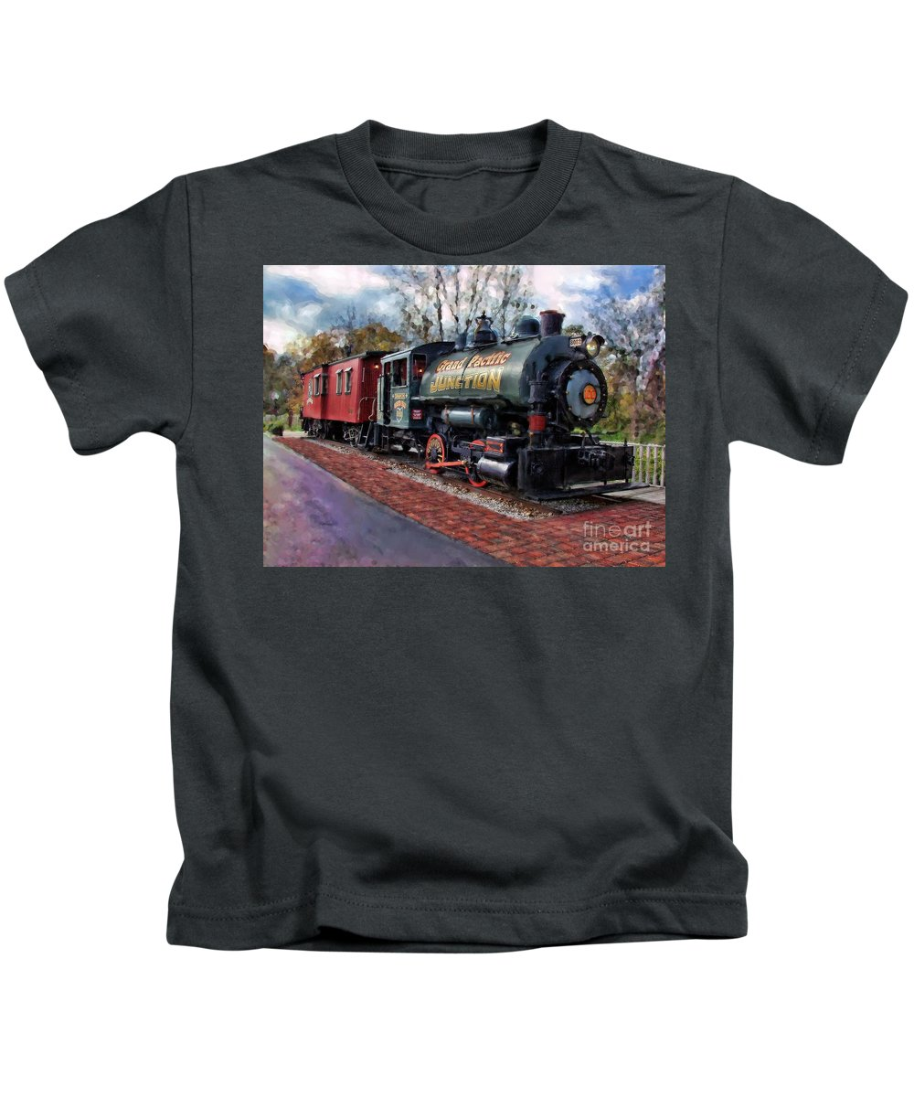 Photographer In North Ridgeville Kids T-Shirt featuring the photograph Train At Olmsted Falls - 1 by Mark Madere