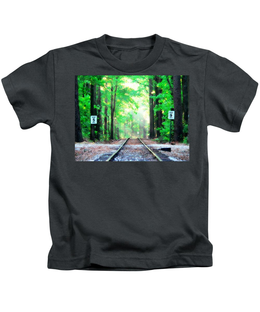 Railroad Tracks Kids T-Shirt featuring the photograph Train Tracks In Forest by Alice Gipson