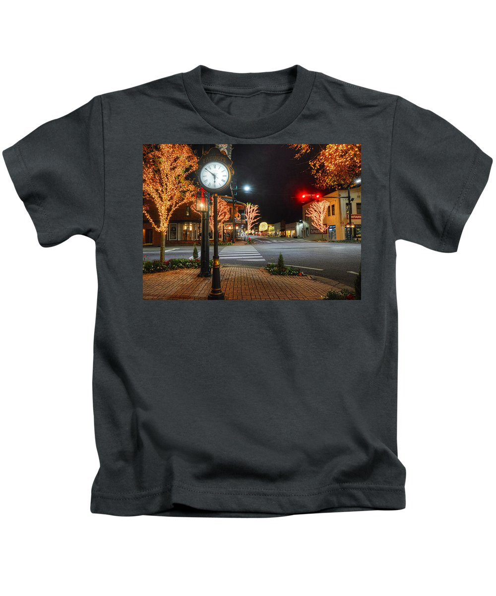 Palm Kids T-Shirt featuring the digital art Tree Lights In Fairhope by Michael Thomas