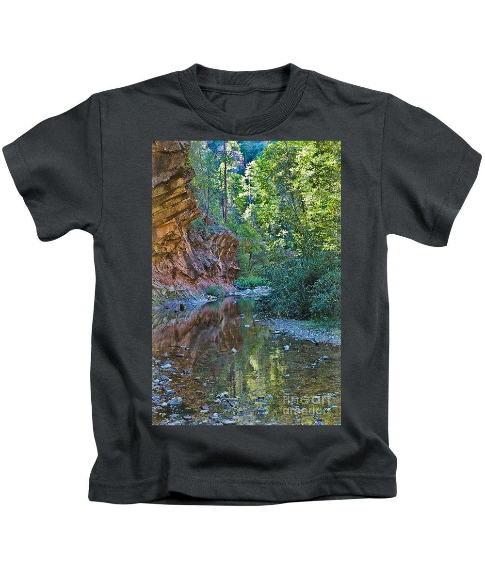 Tree Reflection Was Photographed In Oak Creek Canyon In Sedona Arizon Digital Images Kids T-Shirt featuring the photograph Tree Reflection by Mae Wertz