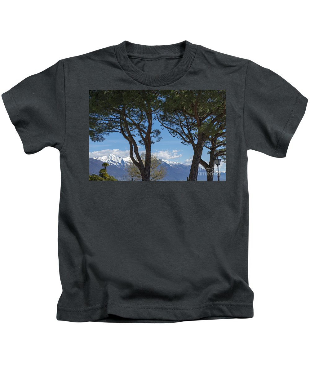 Trees Kids T-Shirt featuring the photograph Trees And Snow-capped Mountain by Mats Silvan