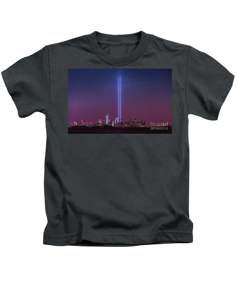 Tribute Lights Kids T-Shirt featuring the photograph Tribute Lights by Michael Ver Sprill
