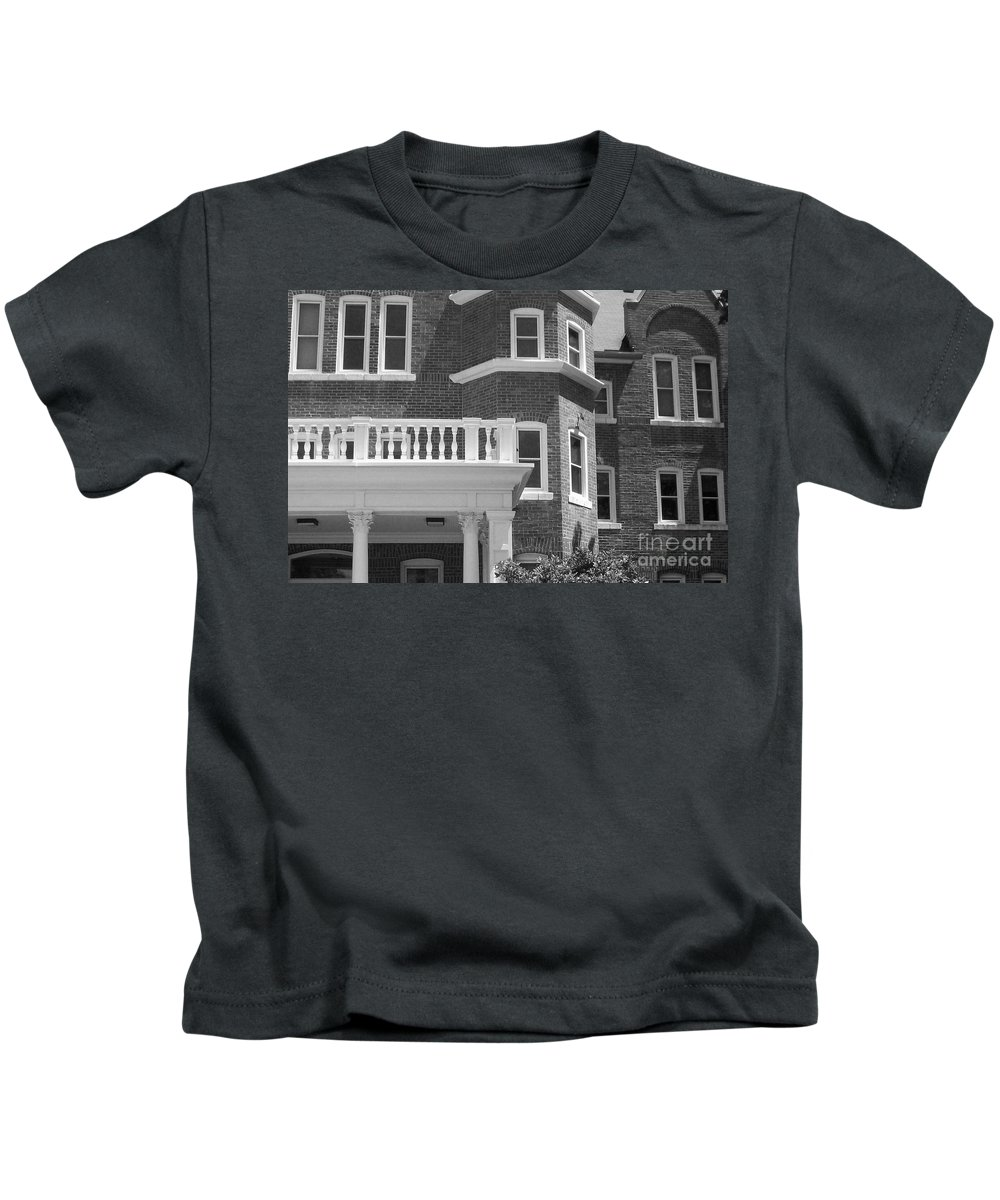 Trims Kids T-Shirt featuring the photograph Trims And Courses Black And White by Laurie Eve Loftin