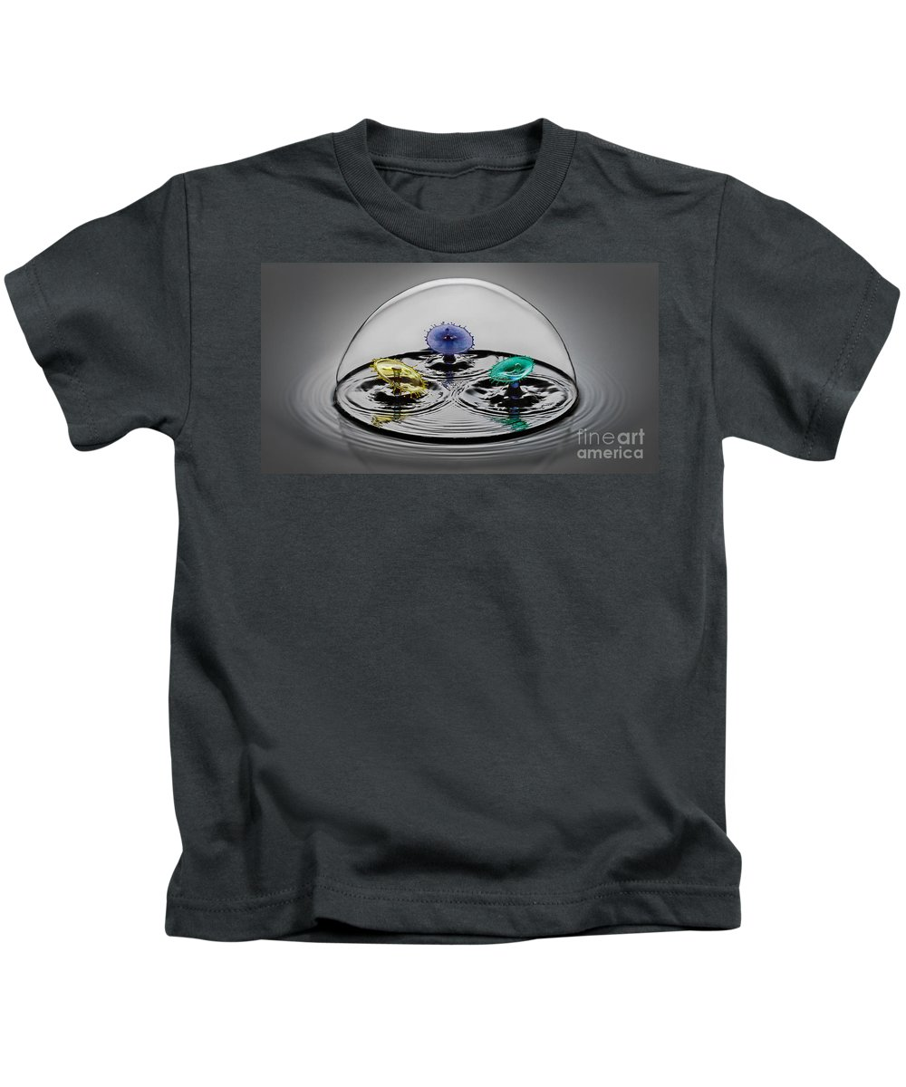 Water Drop Collision Kids T-Shirt featuring the photograph Triple Play by Susan Candelario