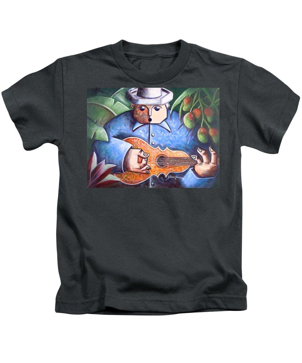Puerto Rico Kids T-Shirt featuring the painting Trovador de mango bajito by Oscar Ortiz