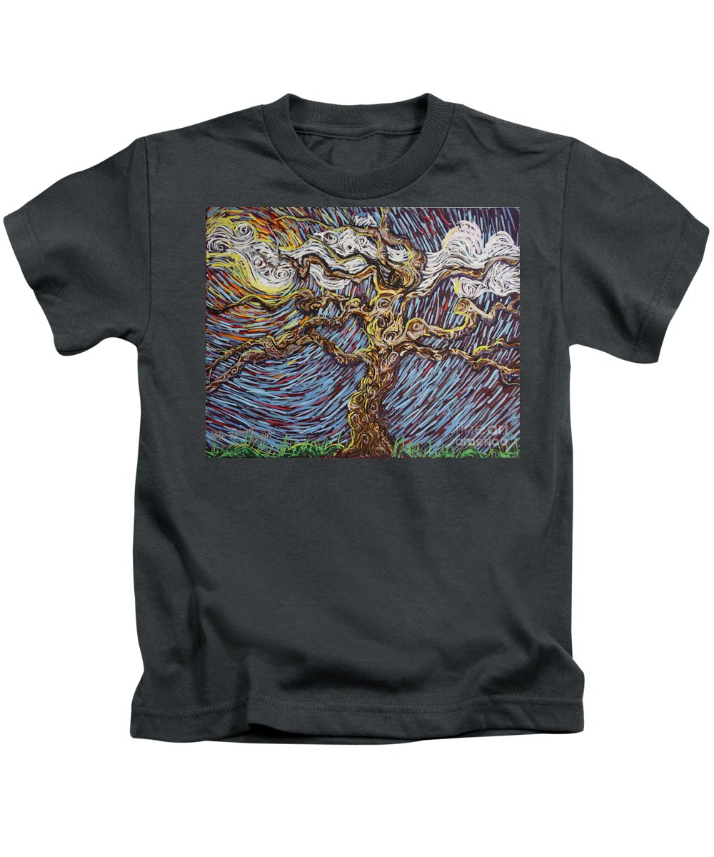 Landscape Kids T-Shirt featuring the painting Trunk Of A Tree by Stefan Duncan