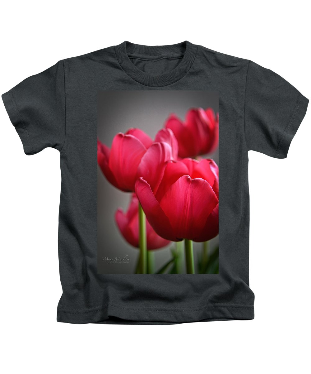 Pink Tulips Kids T-Shirt featuring the photograph Tulips In The Morning Light by Mary Machare