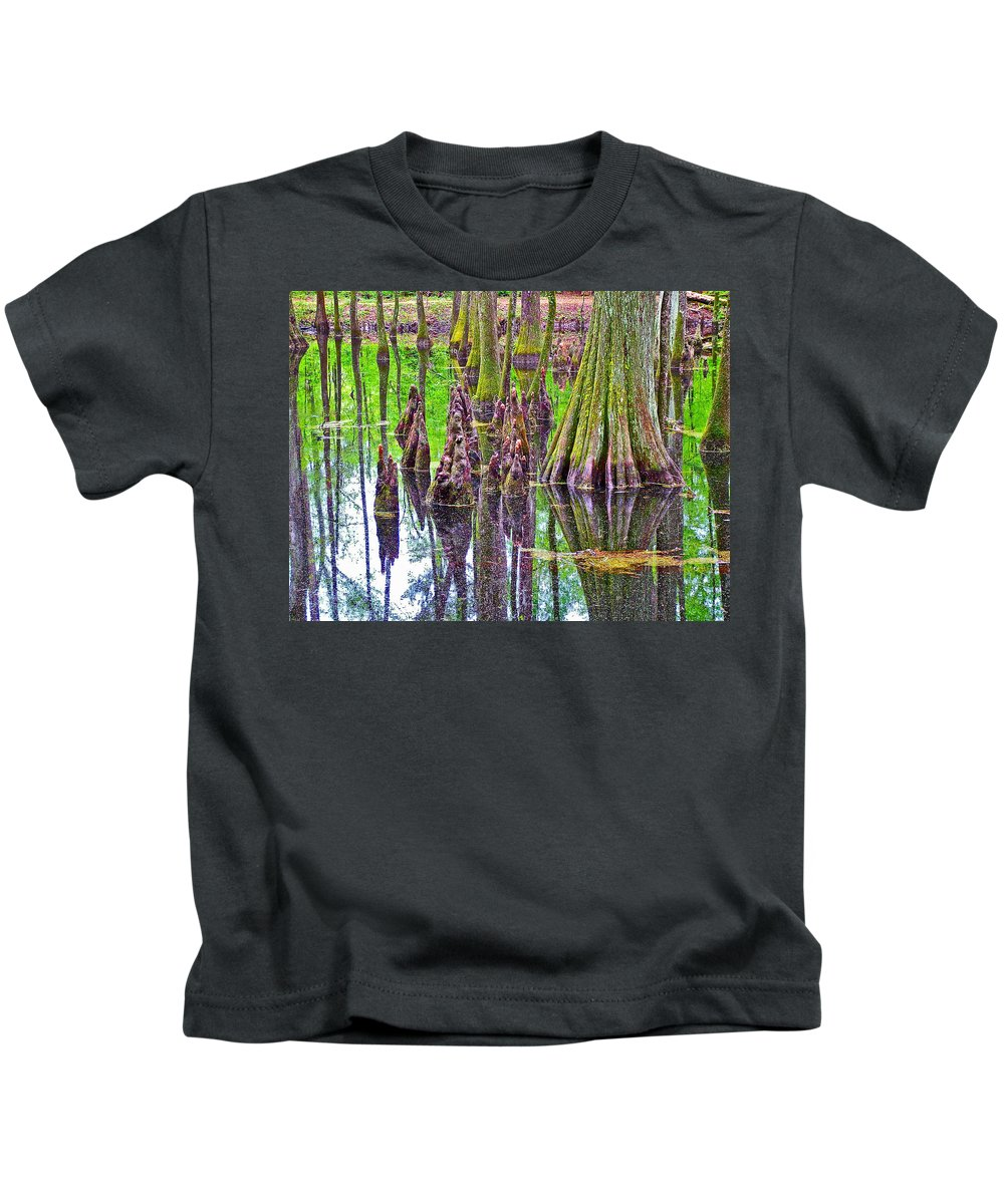 Tupelo/cypress Swamp Reflection At Mile 122 Of Natchez Trace Parkway Kids T-Shirt featuring the photograph Tupelo/cypress Swamp Reflection At Mile 122 Of Natchez Trace Parkway-mississippi by Ruth Hager