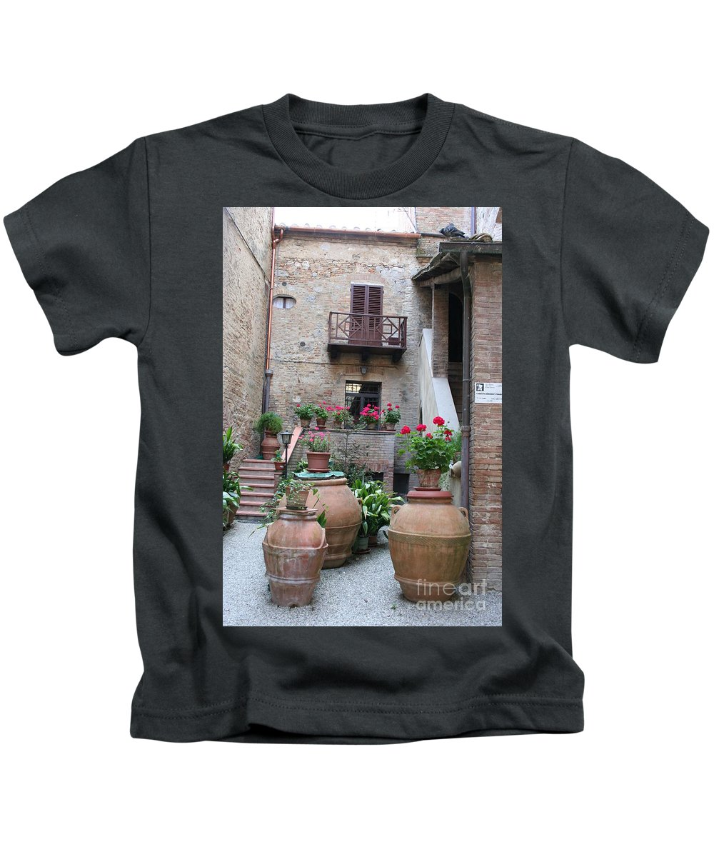Yard Kids T-Shirt featuring the photograph Tuscany Yard by Christiane Schulze Art And Photography