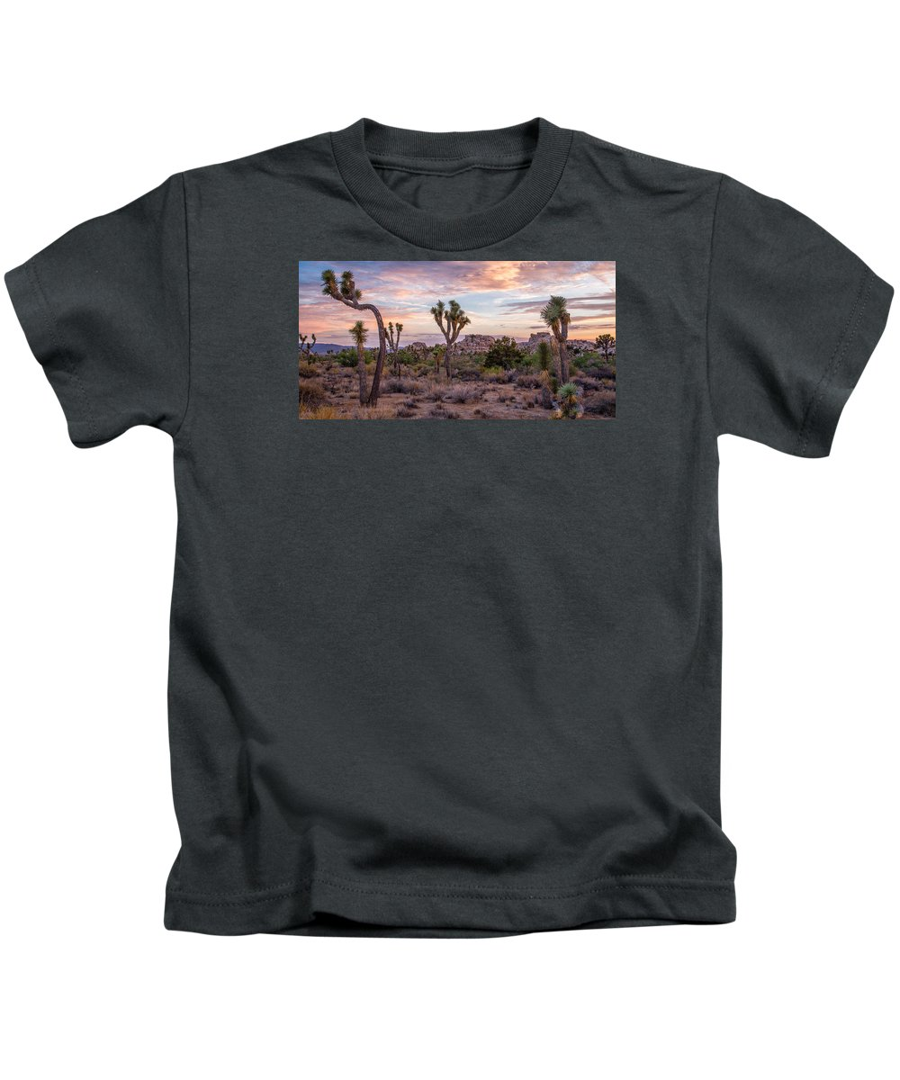 Big Sky Kids T-Shirt featuring the photograph Twilight Comes To Joshua Tree by Peter Tellone