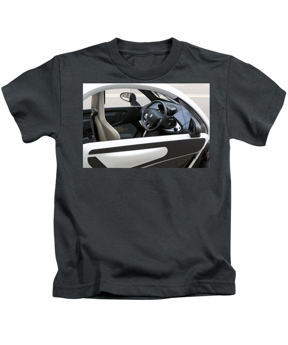 Horizontal Kids T-Shirt featuring the photograph Twizy Rental Electric Car Side And Interior Milan Italy by Sally Rockefeller