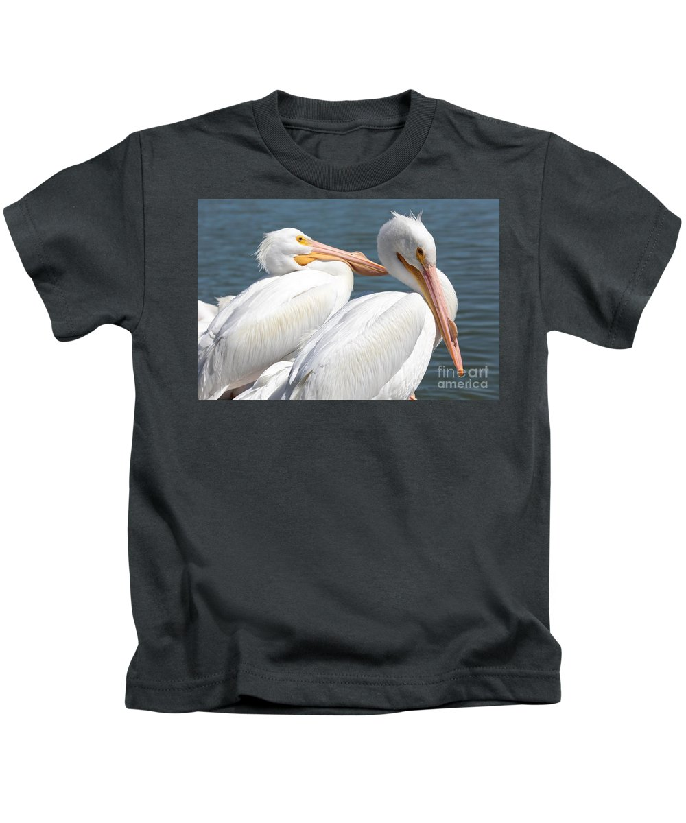American White Pelican Kids T-Shirt featuring the photograph Two White Pelicans by Carol Groenen