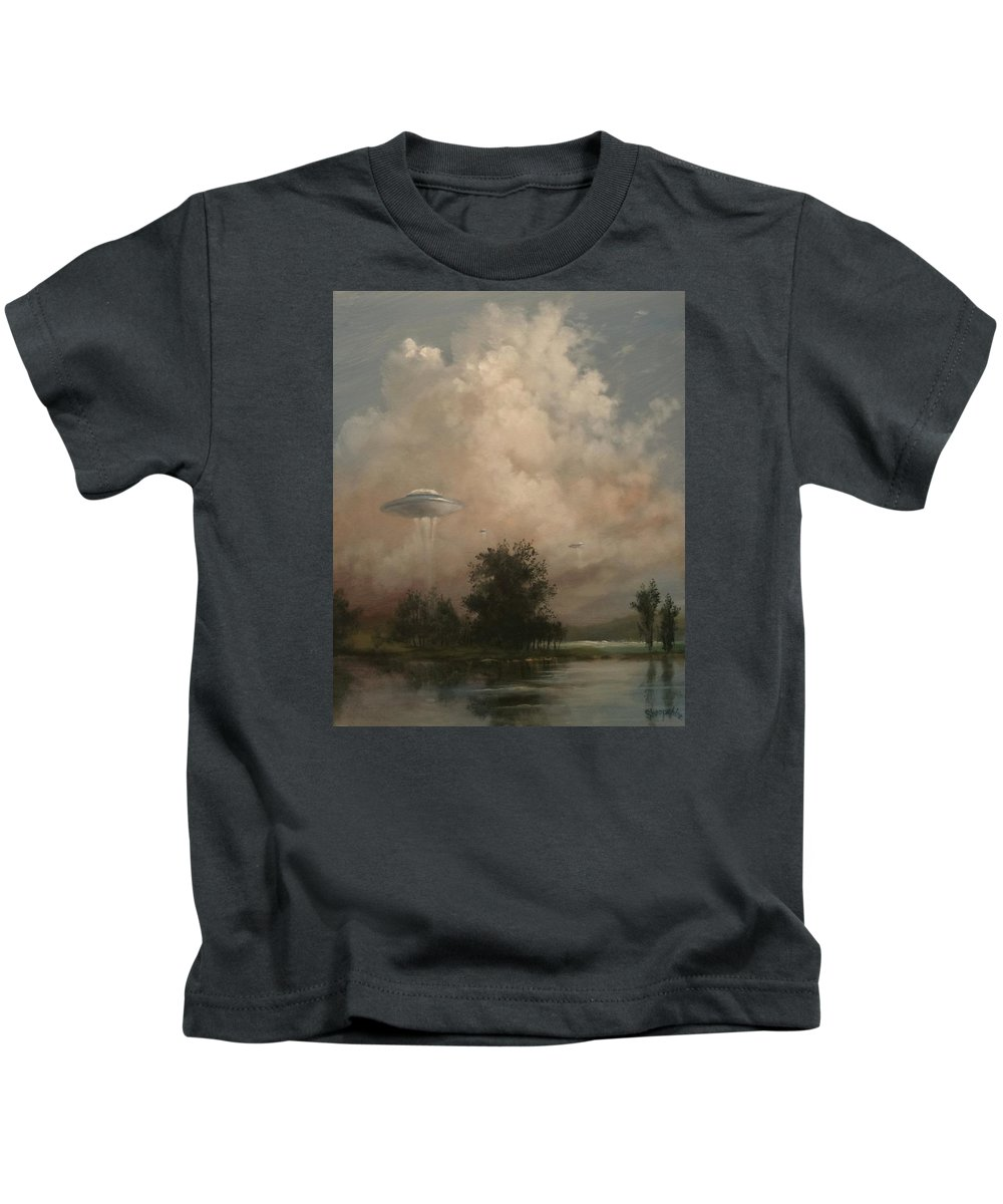 Ufo's Kids T-Shirt featuring the painting Ufo's - A Scouting Party by Tom Shropshire