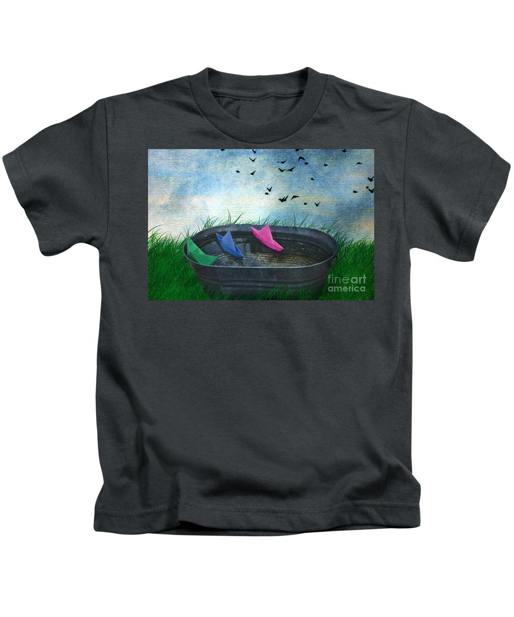 Paper Boats Kids T-Shirt featuring the photograph Uncharted Waters by Juli Scalzi