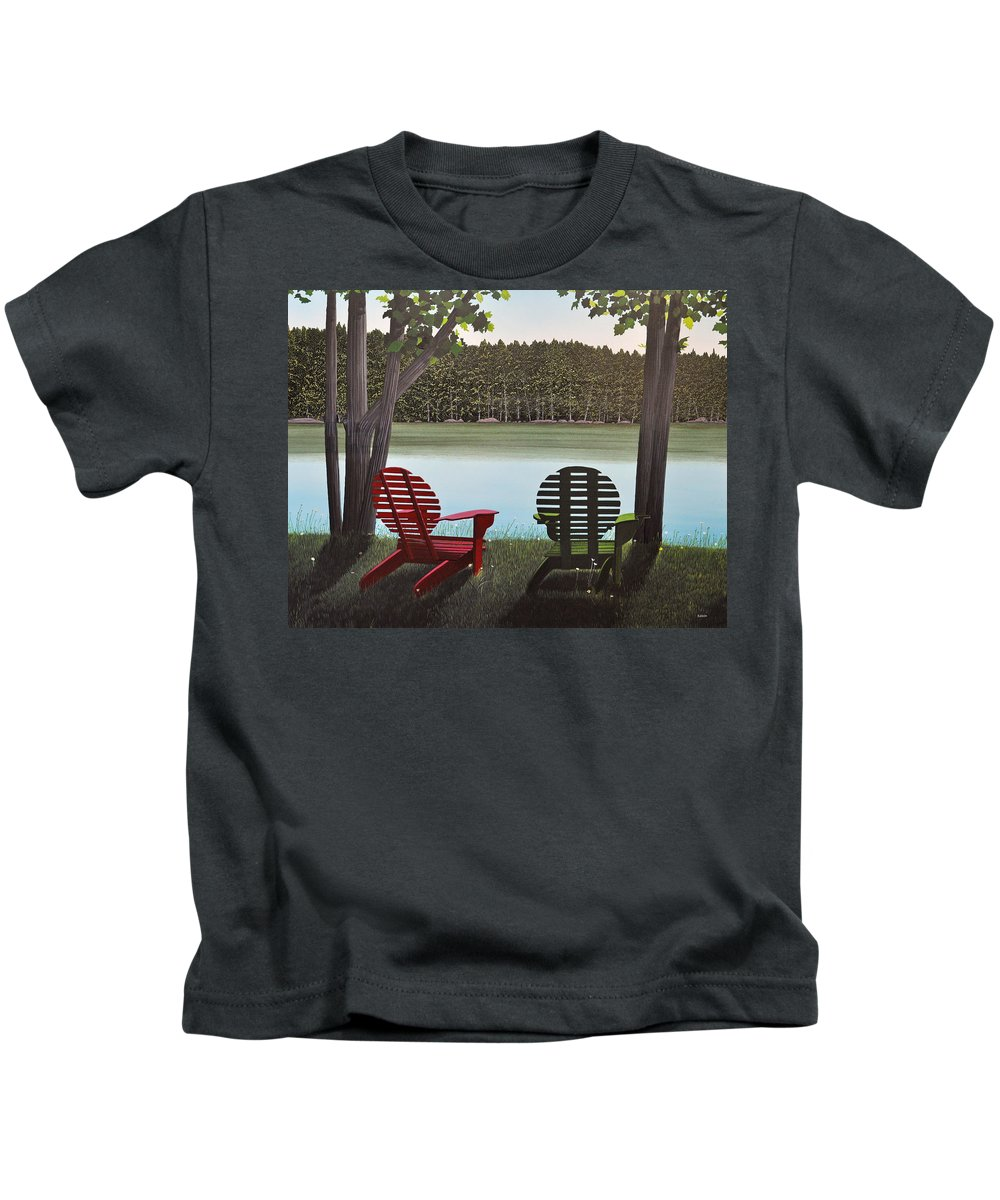 Landscapes Kids T-Shirt featuring the painting Under Muskoka Trees by Kenneth M Kirsch