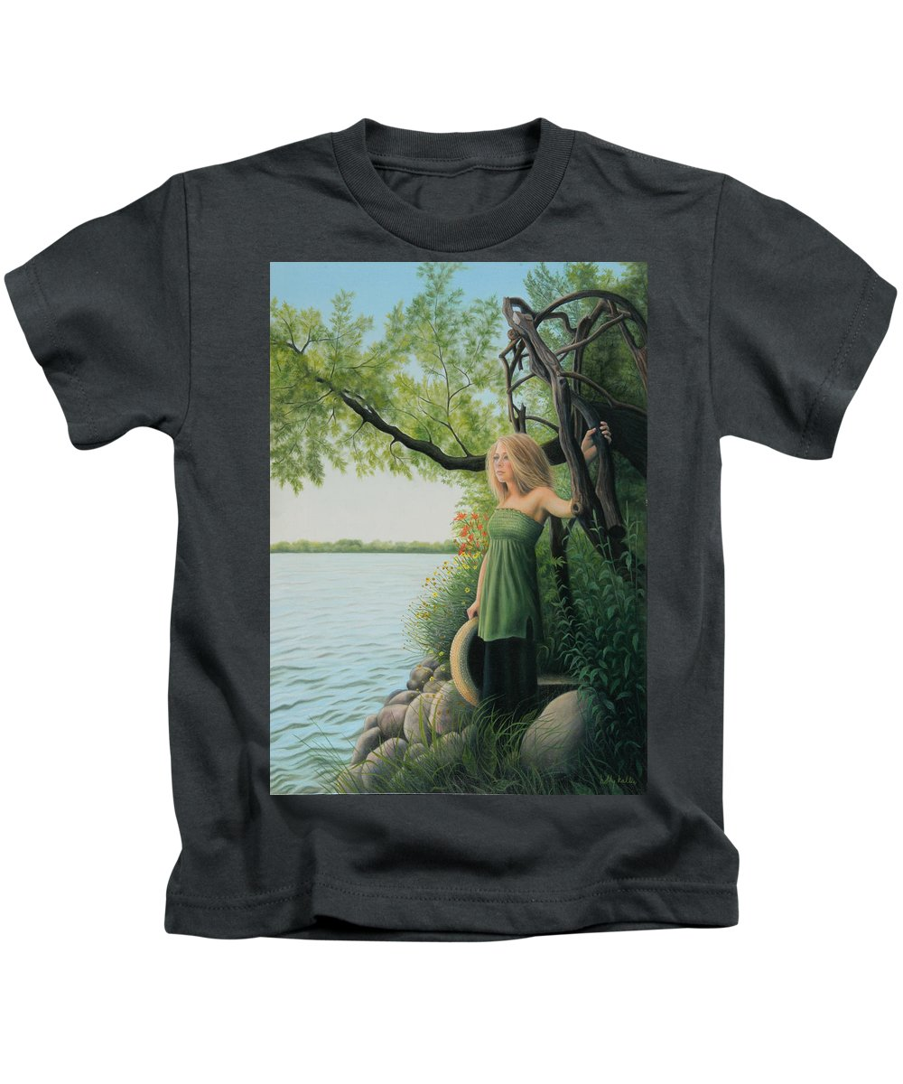 Realistic Kids T-Shirt featuring the painting Under The Arbor by Holly Kallie