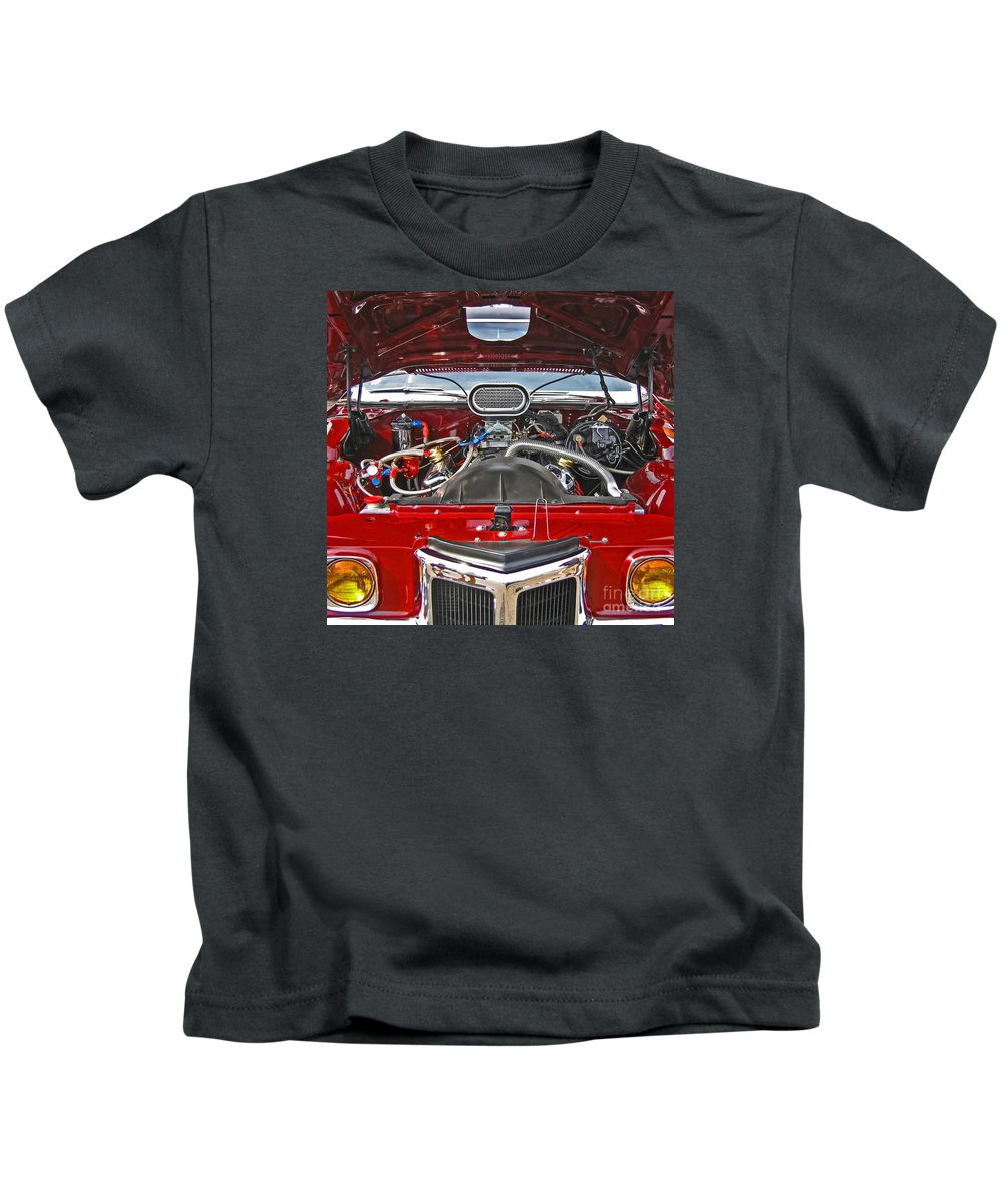 Car Kids T-Shirt featuring the photograph Under The Hood by Ann Horn