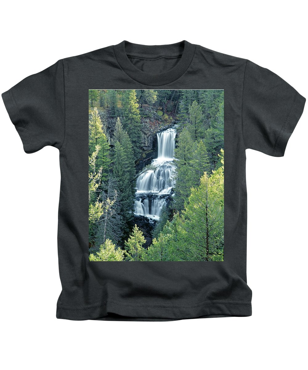 Undine Falls Kids T-Shirt featuring the photograph 109008-undine Falls In Yellowstone by Ed Cooper Photography
