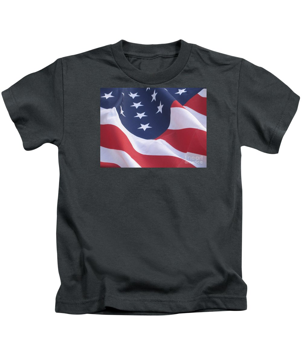 Photography Kids T-Shirt featuring the photograph United States Flag by Chrisann Ellis