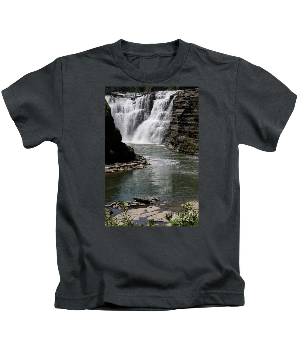 Genesee River Kids T-Shirt featuring the photograph Upper Falls Letchworth State Park by Christiane Schulze Art And Photography
