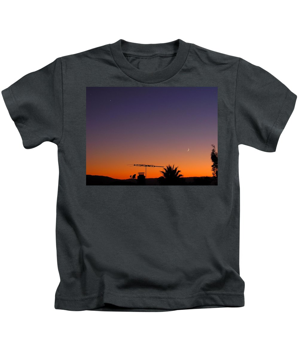 Moon Kids T-Shirt featuring the photograph Venus And Waxing Crescent by Ru Tover