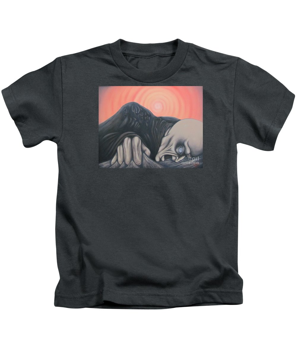 Tmad Kids T-Shirt featuring the painting Vertigo by Michael TMAD Finney