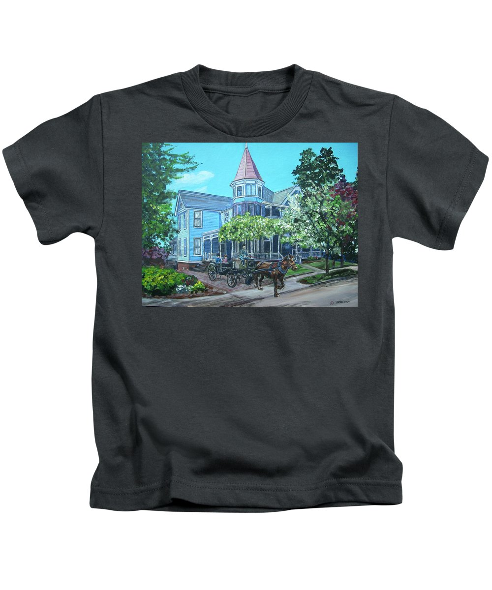 Victorian Kids T-Shirt featuring the painting Victorian Greenville by Bryan Bustard