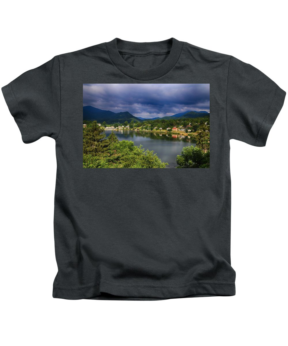 Mountain Community Kids T-Shirt featuring the photograph Village By The Lake by Dennis Baswell