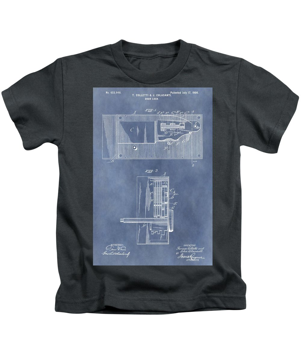 Door Lock Patent Kids T-Shirt featuring the mixed media Vintage Door Lock Patent by Dan Sproul