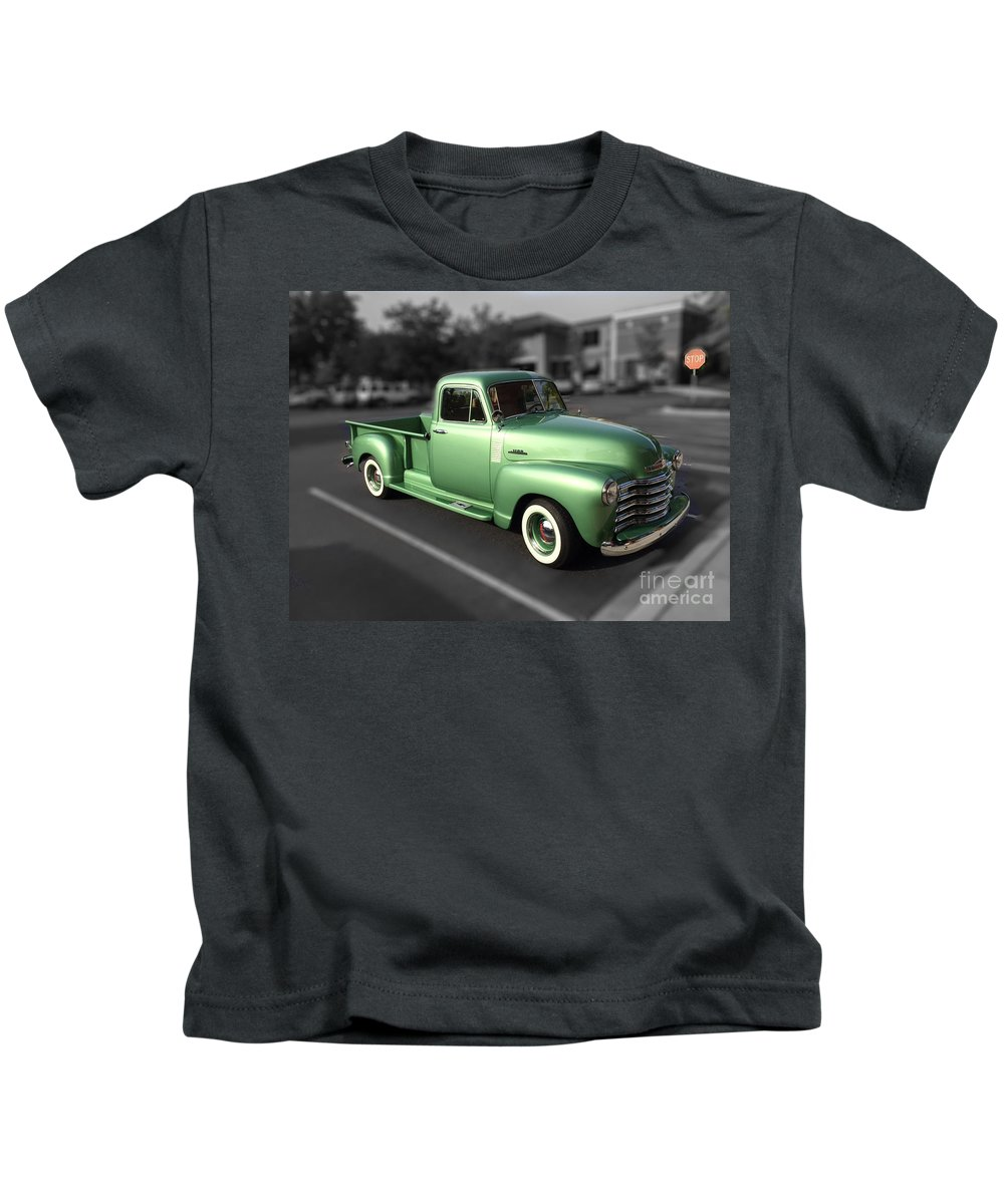Vintage Kids T-Shirt featuring the photograph Vintage Green Chevy 3100 Truck by Dale Powell