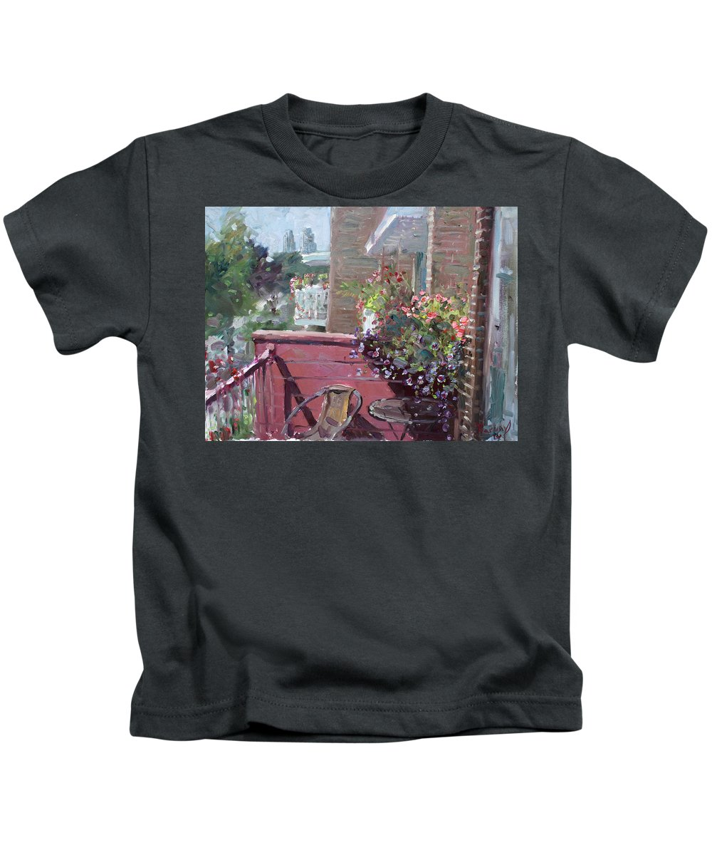 Flowers Kids T-Shirt featuring the painting Viola's Balcony by Ylli Haruni