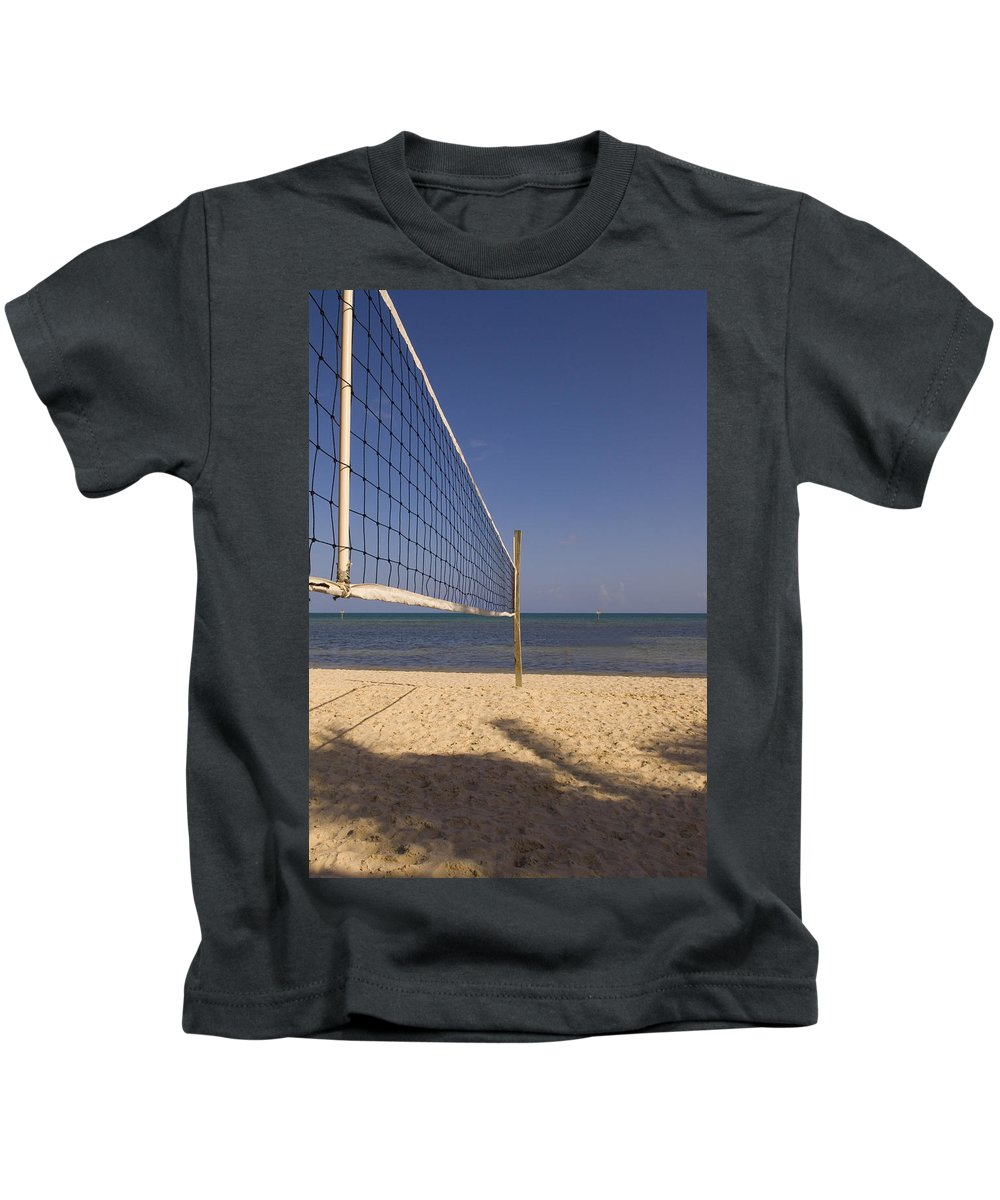 Volleyball Net Kids T-Shirt featuring the photograph Vollyball Net On The Beach by Bob Pardue