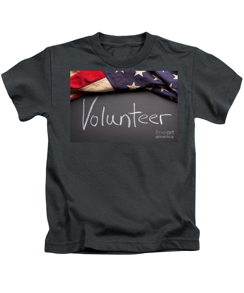 American Kids T-Shirt featuring the photograph Volunteer Sign On Chalkboard by Leslie Banks