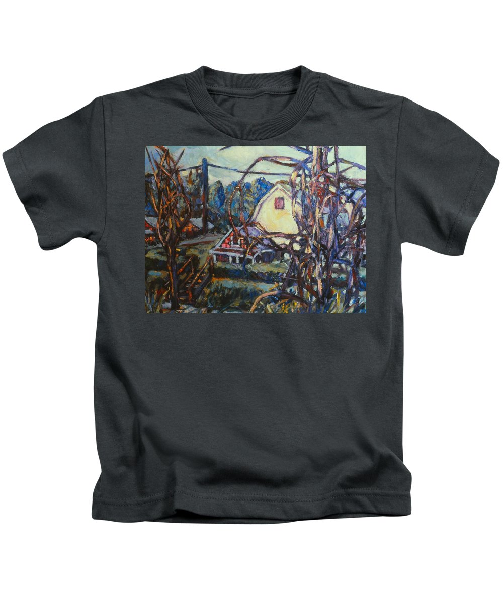 Houses Kids T-Shirt featuring the painting Wadsworth Avenue Again by Kendall Kessler